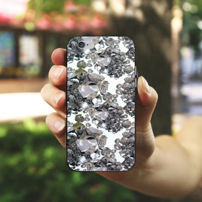 Apple iPhone X Silikon Hülle Case Schutzhülle Edelsteine Muster Steine Silikon Case schwarz / weiß