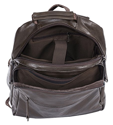 Big Handbag Shop, Borsa a zainetto donna Backpack Style 4 -Coffee