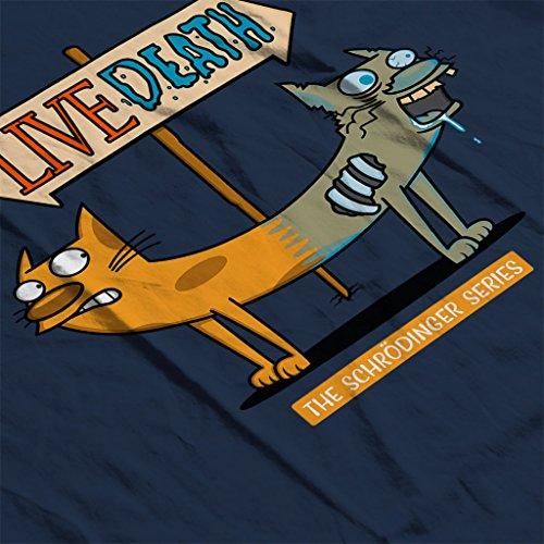 Cloud City 7 Catdog Schrodinger Cat Mix Womens T-Shirt Navy blue