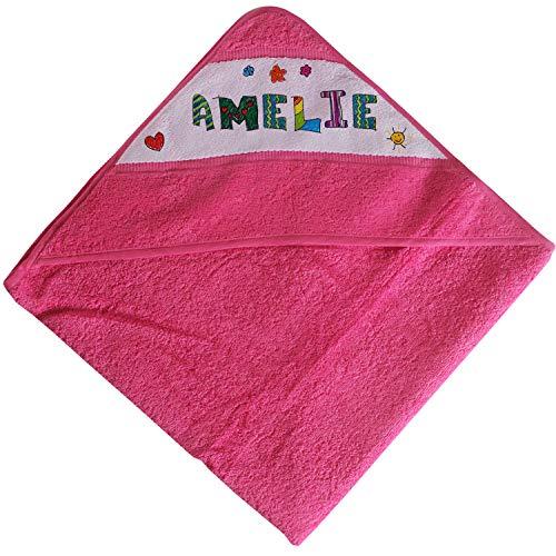 Kinder Kapuzen-Handtuch mit Name   rosa für Mädchen