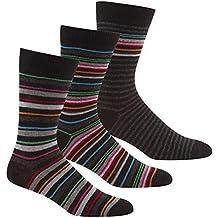 Pierre Roche - Lote de 3 calcetines para hombre, algodón premium, diseño de rayas, talla única 39-46