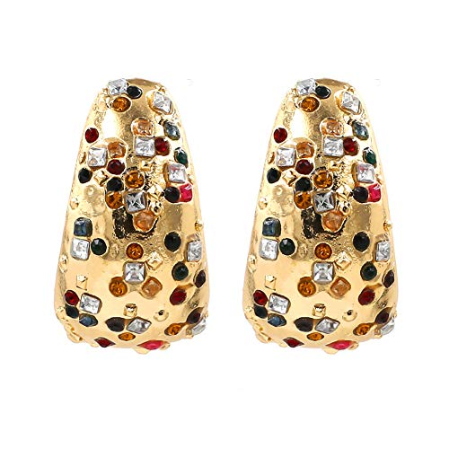 Beautiful jewelry Glitzer Kristall Clip auf Ohrringe für Frauen 18 Karat Weiß/Rose Gold überzogene halbe Kugel Ohrringe Mädchen Modeschmuck
