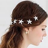 Miya® 4er Set wunderschöne weiß Haarnadeln Haarspiralen Curlies süße Stern Seestern mit Perlen Strass, Braut Hochzeit Jugendweihe Haarschmuck