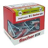 Fischer 544016Dübel mit Schraube für Mauerwerk voller, gelocht und Gipskarton, grau, 6x 30mm, Set von 50Stück