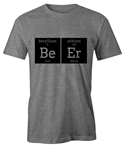 Beer Be Er Komisch Chemistry Element Party T-Shirt Herren Grau (Girl Outfits Nerd Cute)