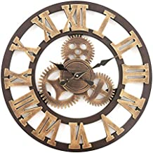 cc92a2a1e1c8e3 F.G.Y Horloge Murale Geante, Silencieuse Pendule Murales Originale en Bois  Industriel Decoration Maison (Cuivre