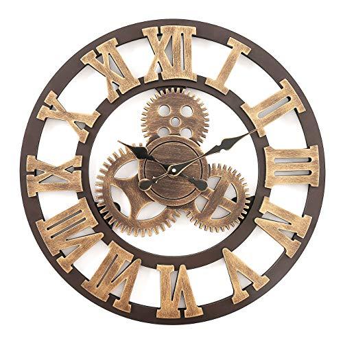 F.G.Y Horloge Murale Geante, Silencieuse Pendule Murales Originale en Bois Industriel Decoration Maison (Cuivre, 58cm)