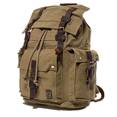l-life Paket Canvas Rucksack Unisex Rucksack Vintage Rucksack, College Schulranzen Casual Daypacks, Wandern Reisen Schultertasche für Wandern/Camping/Outdoor, 2