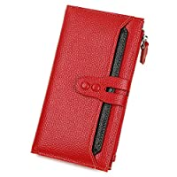 Genuine Leather Wallet for Women Card Holder Clutch Multi Colored Coin Purse for Organizing Cards Checkbook Phone Cash (Red)