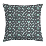 VICKKY Aqua Grey Throw Pillow Cushion Cover, Pattern Succulents on Grey Background Fresh Spring Plants, Decorative Square Accent Pillow Case, 18 X 18 Inches, Grey Aqua Pale Blue