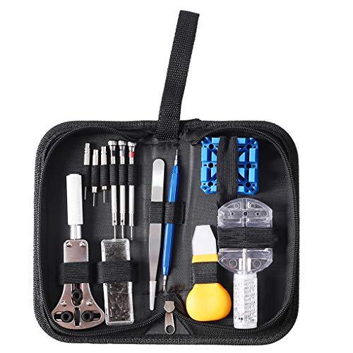 ELENXS Armbanduhr Reparatur DIY Kit-Uhr-Kasten-Öffner-Batterie Schraubendreher Tweezer Wartung Werkzeug-Satz (Uhr-werkzeug-kasten)