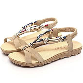 8b3bc9a98f Womens Shoes,Ladies Summer Flat Sandals Low Heel Peep Toe Beaded Sandals  for Girls Beach