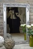 Livitat® Wandspiegel Spiegel Badspiegel barock antik Silber (90 x 60 cm)