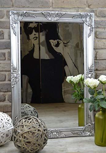 Livitat Wandspiegel Spiegel Badspiegel barock antik Silber (90 x 60 cm)