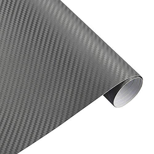 FuTaiKang Pegatina de Fibra de Carbono Impermeable Película 3D Adhesivo Vinilo Etiqueta Engomada del Vinilo del Coche Decorativo Cada Rollo de 1.27m * 30cm (Gris)