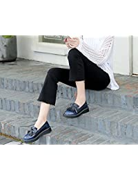Pump Loafer 3cm Thick Bottem Tassel Slip On Casual Shoes Femmes Round Toe Bowknot Angleterre Style Gradient Color Court Shoes Eu Taille 34-43 ( Color : Blue )