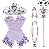 Vicloon Nuovi Costumi da Principessa Set di 9 Pezzi Dono da Tiara, Guanti, Bacchetta Magica, Anello, Orecchino, Collana da 3 a 9 Anni (Viola)