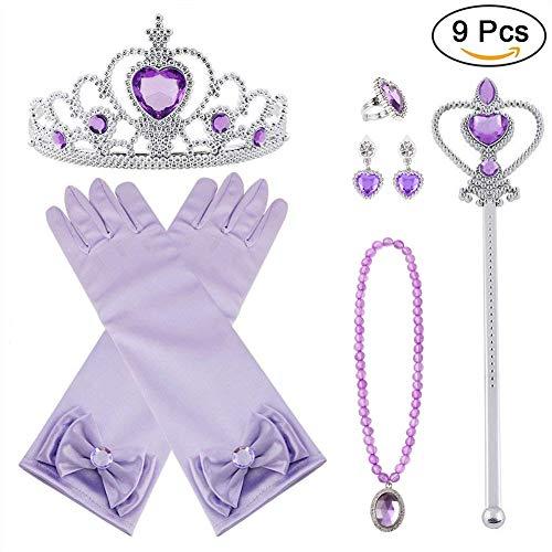 Vicloon Prinzessin Kostüme Eisprinzessin Set of 9, ELSA Handschuhe, Pfirsichherz Krone , Zauberstab, Halskette, Ring, Ohrring (Lila)