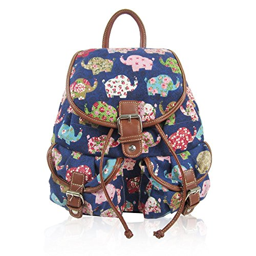 Kukubird Double Pocket verschiedene Emoji Unicorn Katzen Muster Book School Gym Uni Sports Classic Vintage Rucksack Rucksack Elephant Dark Blue