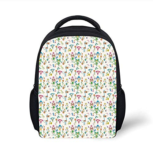 Kids School Backpack Baby,Spring Funny Animal Figures Trippy Stylized Cheerful Buddies Flowers Butterflies Kids Decorative,Multicolor Plain Bookbag Travel Daypack