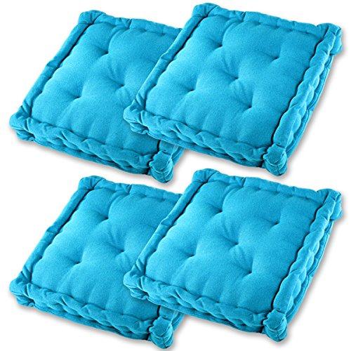 Gräfenstayn® Set de 4 Coussins d'Assise Coussins de Chaise 40x40x9cm pour intérieur et extérieur - 100% Coton - Différents Coloris – Rembourrage épais (Turquoise)