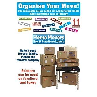 Box Moving Labels Pack 4-297Aufkleber dabei helfen, sich zu organisieren, sich Home (für A 3Schlafzimmer House)-Farbe Code ID Aufkleber/Etiketten für Kartons und Möbeln