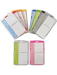 50 unidades funda de carné soporte para tarjetas porta permiso vertical de plástico duro carné del trabajo carné de alumno nuevo - Plástico, transparente