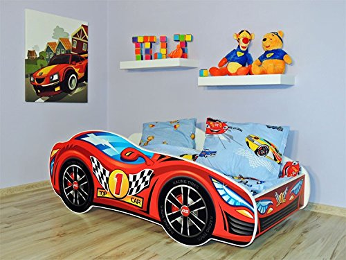 KAGU Autobett Kinderbett Juniorbett 140x70 cm inkl. Matratze Abgerundete Kanten Top Car 1