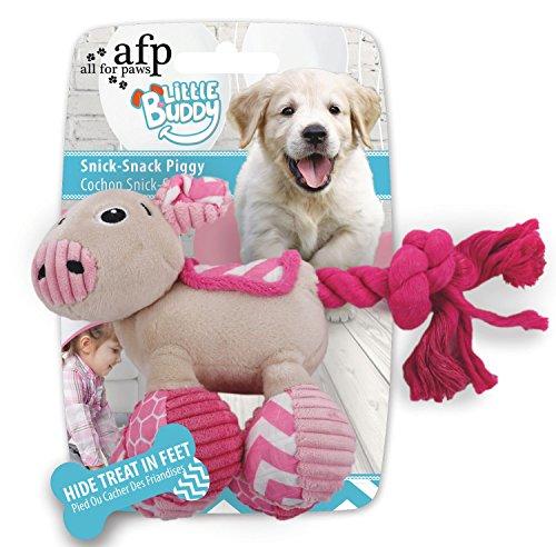 Little Buddy - Snick-Snack Piggy - Spielzeug für Welpen - Schweinchen mit Kauseil rosa (Vier Welpe Pfoten Produkte)