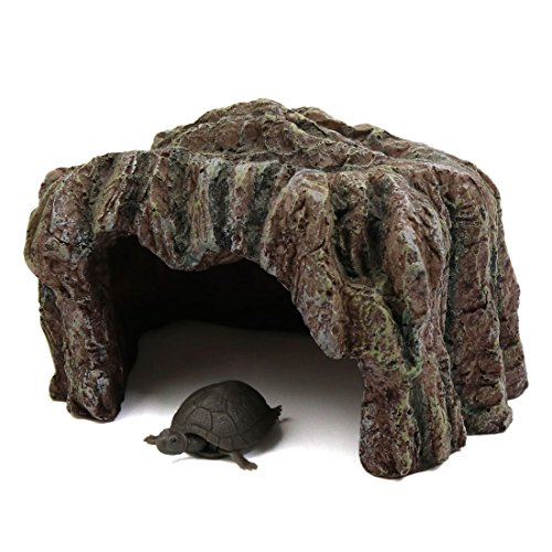 sourcingmap® Braun Harz Reptil Schildkröte Haus Höhle Versteck Habitat Ornament für Aquarium (Aquarium Versteck)
