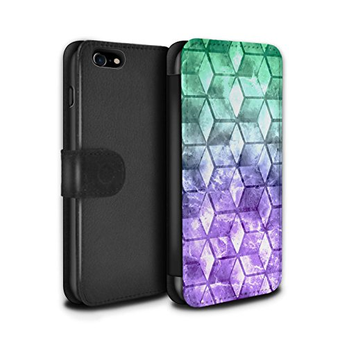 Stuff4 Coque/Etui/Housse Cuir PU Case/Cover pour Apple iPhone 7 / Vert/Bleu Design / Cubes colorés Collection Vert/Violet