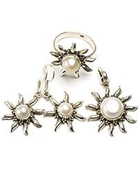 """stargems (TM) Natural Río perla Conjunto de joyería de plata de ley 925diseño único colgante 11/4""""; Anillo 61/2; Pendientes 11/2"""""""