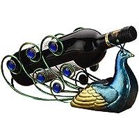 SUFANG Estante de Vino Creativo/Iron Art Estante de Botella de Pavo Real/Decoraciones