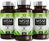 MSM Kapseln 1200 mg (180 vegane Kapseln), Methylsulfonylmethan-Pulver mit Vitamin C | Organischer Schwefel für Detox | Hochdosierte Gelenkkapseln – Aus ISO-zertifizierten Betrieben (3 Flaschen)