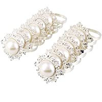 Kicode Luxurious 12pcs Pearl Designed Napkin Ring Holder for Dinner Party Wedding Banquet Table Decor