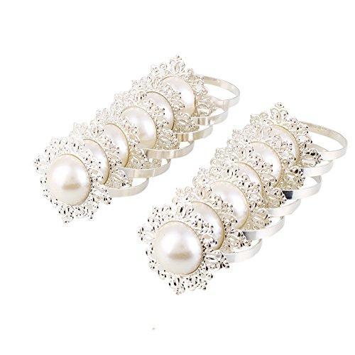Kicode 12pcs de luxe pearl Conçu Porte-Serviette pour le dîner de soirée de mariage Banquet décor de table