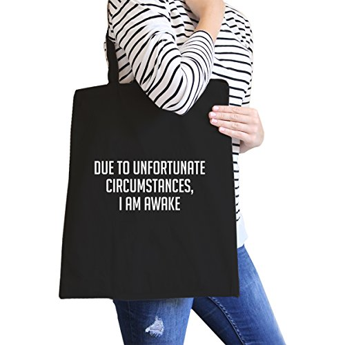 365 Printing inc , Borsa da spiaggia  Donna Adult-ish - Natural Im Awake - Black