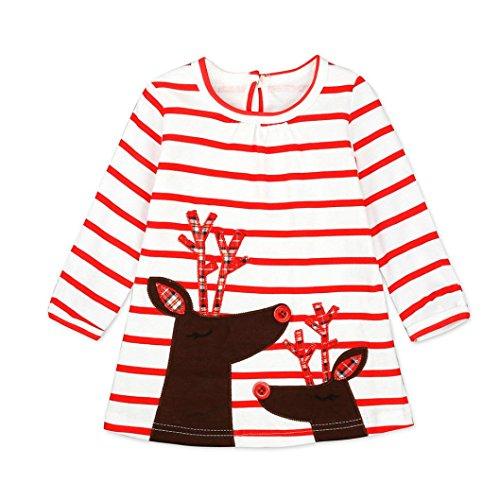 Longra Kinder Baby Mädchen Santa Striped Prinzessin Kleid Weihnachten Outfits Kleidung Herbst-Winter Langarm Mädchen T-Shirt-Kleid(0-6Jahre) (110CM 4Jahre, (Kinder Für Santa Kleider)
