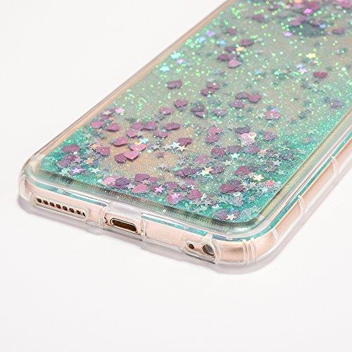 iPhone 6 Plus Hülle, Voguecase Anti-Fall-Treibsand Silikon Schutzhülle / Case / Cover / Hülle / TPU Gel Skin für Apple iPhone 6 Plus/6S Plus 5.5(Liebe/Grün) + Gratis Universal Eingabestift Liebe/Grün