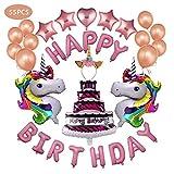 JUSTIDEA Einhorn Luftballons Geburtstag Party Set Dekoration, Helium-Luftballons Einhorn Geburtstag Dekoration 55 Packs Geburtstags Sets