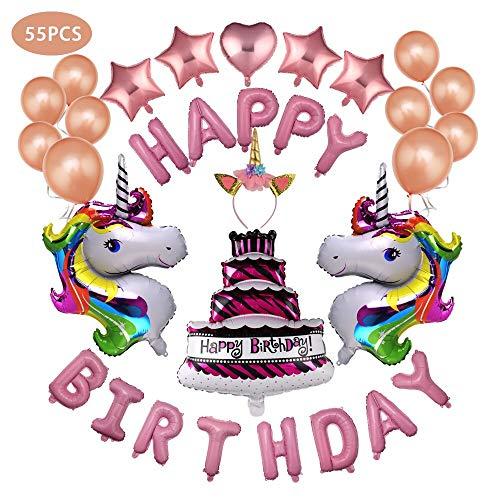 JUSTIDEA 55 pcs globos de cumpleaños unicornio Globos Decoraciones de cumpleaños de unicornio cumpleaños kit cumpleaños unicornio decoracion fiesta unicornio cumpleaños