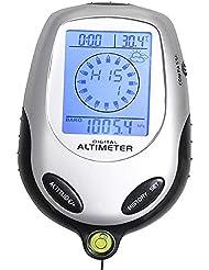 BlueBeach® 8 en 1 digital multifunción LCD Brújula altímetro del barómetro del termómetro para uso al aire libre, Reloj, hora, calendario, luz de fondo