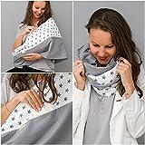 Mania Stillschal Universal, das Original, Stilltuch aus 100 % Öko-Tex-Baumwolle, diskretes Stillen unterwegs, Geräusch-Schutz für Baby, mit unsichtbarem Stilleinlagen-Einschub (Weiß I Grau Sterne, S/M)