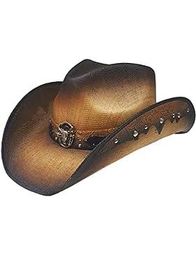 Modestone Unisex Straw Sombrero Vaquero Metal Longhorn Bull Head Concho & Studs Brown
