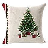 Lucky Mall Weihnachtsleinenquadrat Throw Pillow Case Flachs Kissenbezug Dekorative Kissen Kissenbezug