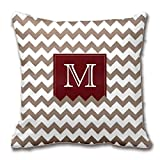 rongxincailiaoke Kissenbezüge Brownish Tan Zig Zag Pattern Throw Pillow Case Deep Red Box Cushion Cover Cotton Ployster Fabric 18