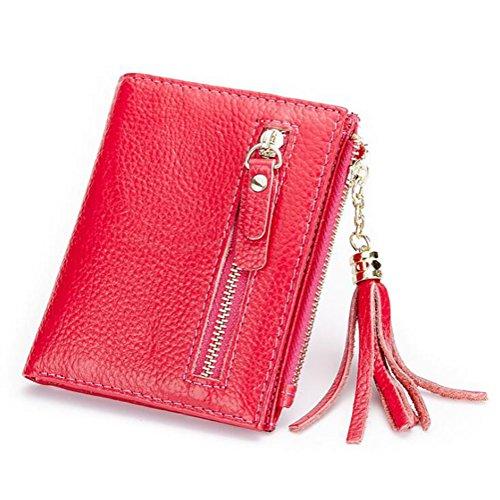 DcSpring Portafoglio Piccolo in Vera Pelle Portamonete Elegante Porta carte di credito con Cerniera per Donna (Nero) Rosa