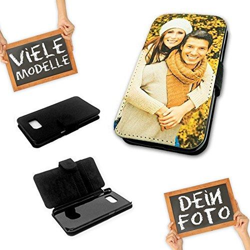 PixiPrints Flipcase Etui mit eigenem Foto und Text * Flip Tasche Handy Book Schutzhülle, Kompatibel mit Samsung Galaxy S6