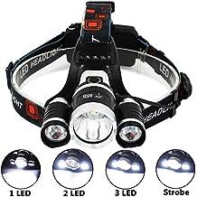 6000 Lúmenes Linterna Frontal LED de AIQI, 2 Baterías Recargables, 3 CREE XM-L T6 Luces Brillantes, 4 Modos de Luz y Hasta 500 metros, Cabeza Impermeable IP65 Para Camping / Pesca / Ciclismo / Carrera / Caza