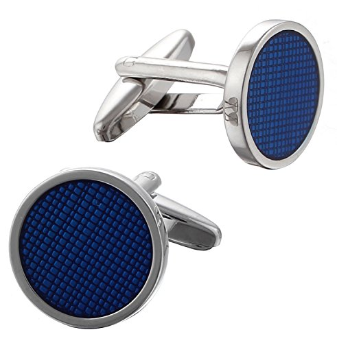 code-red-mens-base-metal-rhodium-plated-with-transparent-blue-enamel-round-cufflinks